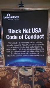 Blackhat Code of Conduct signage from the tradeshow floor, courtesy @blowdart