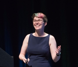 Me giving a talk, looking all fancy